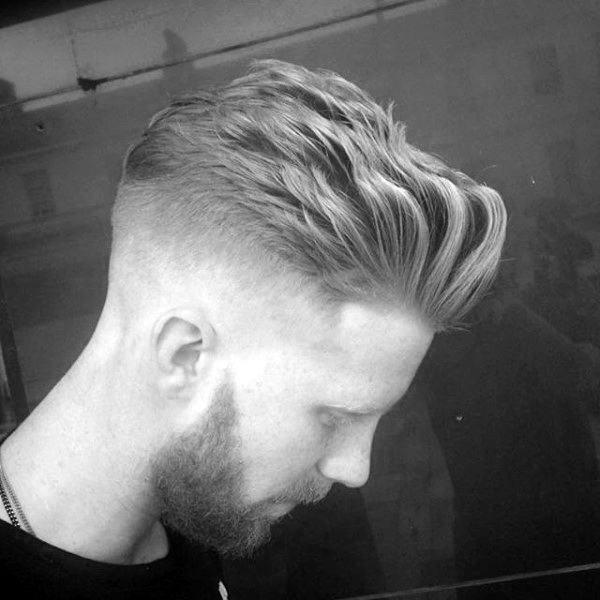 Modern Quiff Wavy Mens Skin Fade Haircut Style