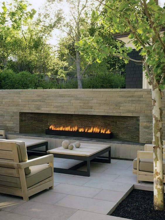 Modern Rectangular Brick Outdoor Fireplace Designs