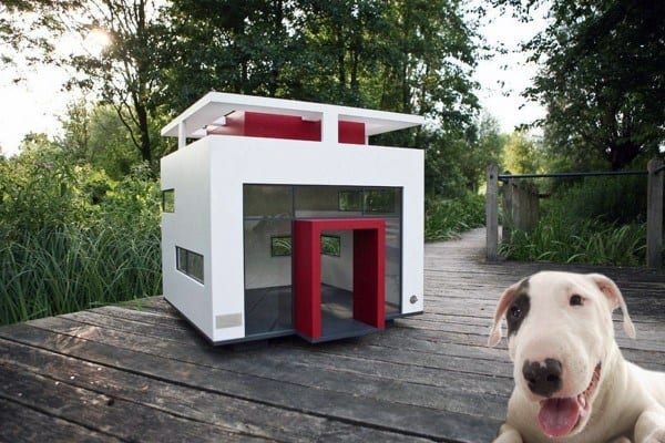 Modern Red And White Glass Dog House Ideas