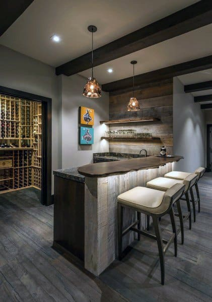 Modern Rustic Bar Design Ideas For Basement