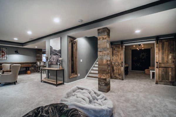 Modern Rustic Basement Design Ideas