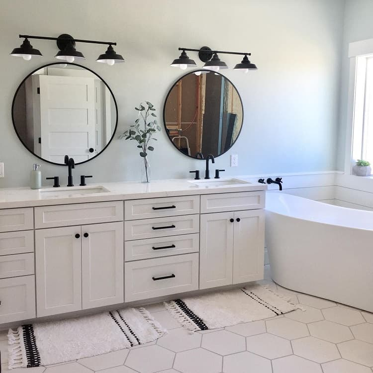 Modern Shiplap White Farmhouse Bathroom Arizona Farmhouse