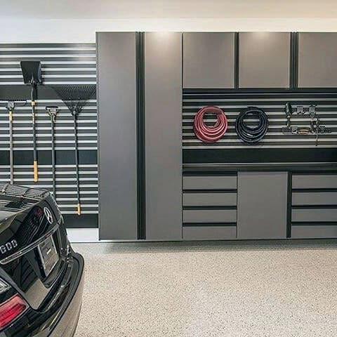 Modern Slat Board Garage Storage Design