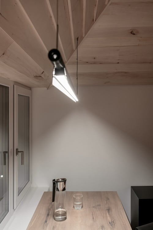 Modern Sloping Light Wood Ceiling