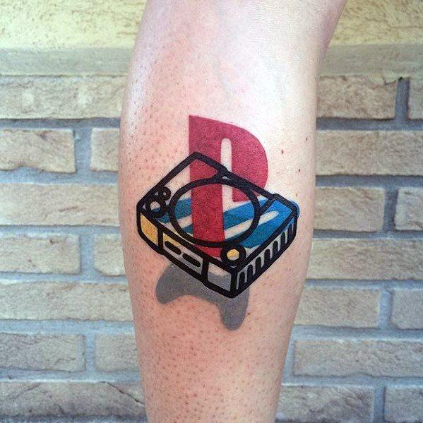 Modern Small Leg Calf Playstation Male Tattoos