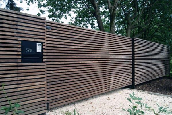 Modern Small Slats Cool Wooden Fence Design Ideas