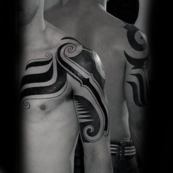 Modern Spiral Guys Tribal Arm And Chest Tatoto Ides