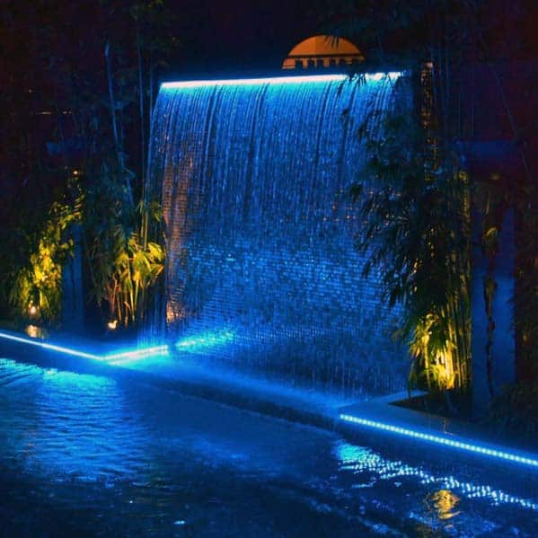 Pool Waterfall Lighting Throughout Modern Steel Cool Pool Waterfall Top 60 Best Ideas Cascading Water Features