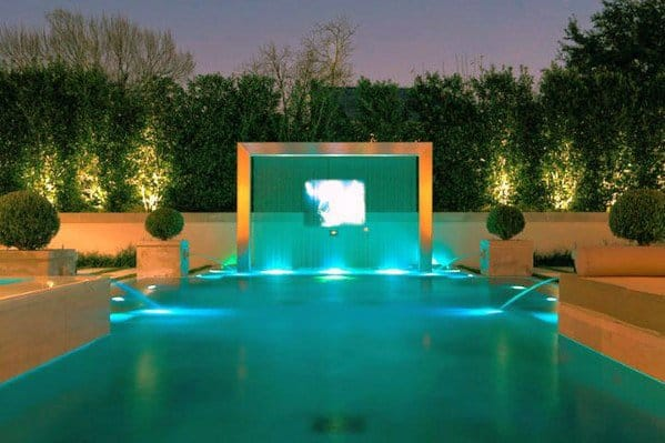 swimming pool lighting ideas. Modern Steel Waterfall Teal Exceptional Pool Lighting Ideas Swimming Pool Lighting Ideas