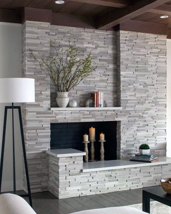 Modern Stone Fireplace