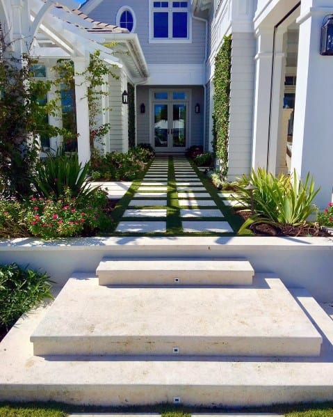 Modern Stone Walkway Ideas Front Yard Entrance