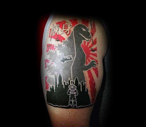 modern-trash-polka-godzilla-japanese-tattoo-on-guys-bicep