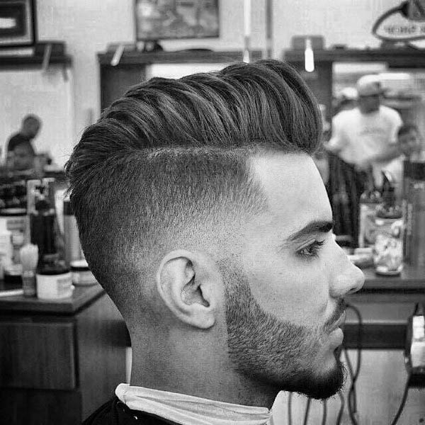 Modern Trendy Pompadour Mens Hair With Low Fade