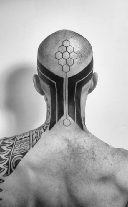 Modern Tribal Back Of Head And Neck Male Tattoo Ideas