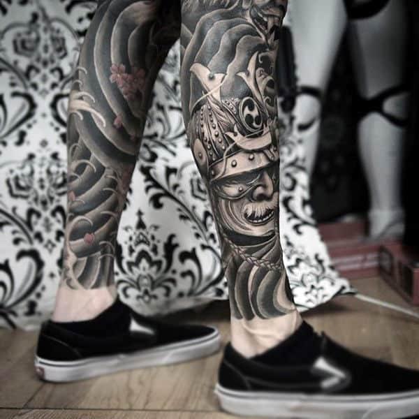 Modern Tribal Samurai Mask Calf Tattoo In Black Ink For Men
