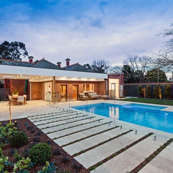 Modern Unique Pool Landscaping