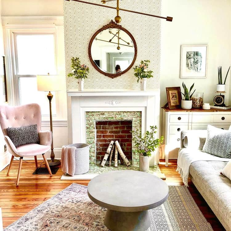 Modern Vintage Living Room Mantel Decor Rustyfigredesign