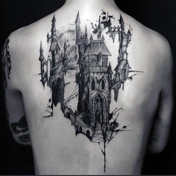Modern Watercolor Back Mens Castle Tattoos