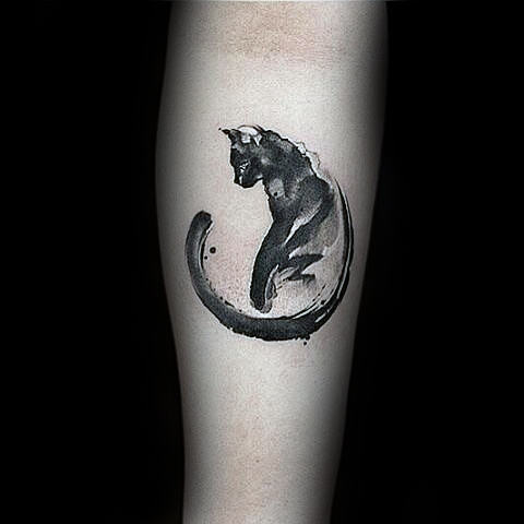 Modern Watercolor Enso Cat Tattoo On Guys Forearms