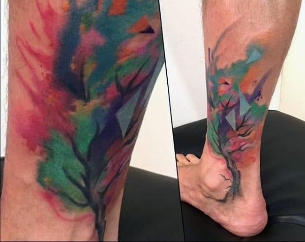 Modern Watercolor Tree Tattoo Male Lower Legs