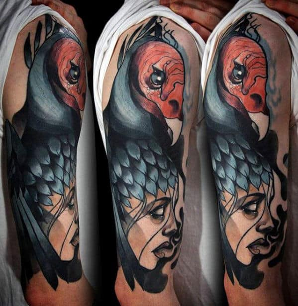 Modern Watercolor Vulture Mens Arm Tattoo Designs