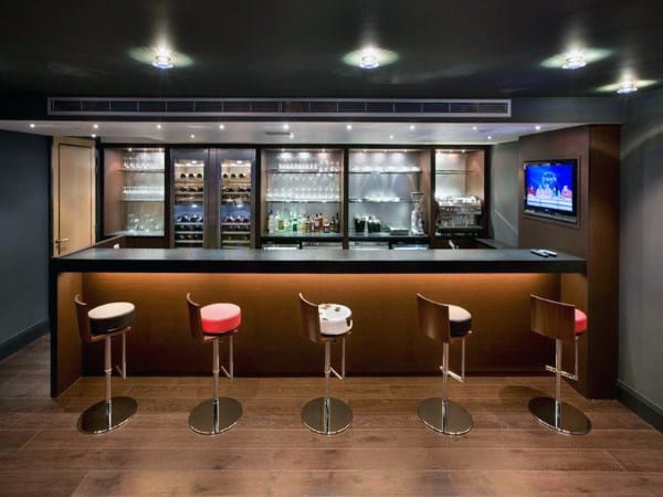 Modern Wet Bar Basement Designs For Men