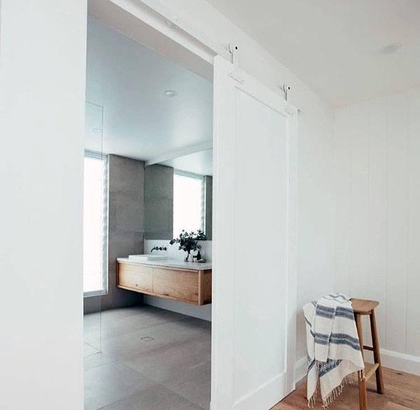 Modern White Bathroom Home Design Ideas Barn Door