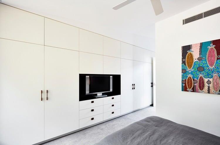 Modern White Bed Room Entertainment Center