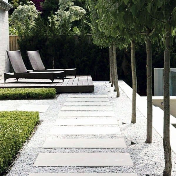 Modern White Gravel Exterior Stepping Stone Design
