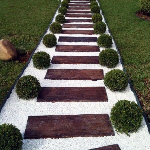 Modern White Gravel Walkway Cool Backyard Ideas