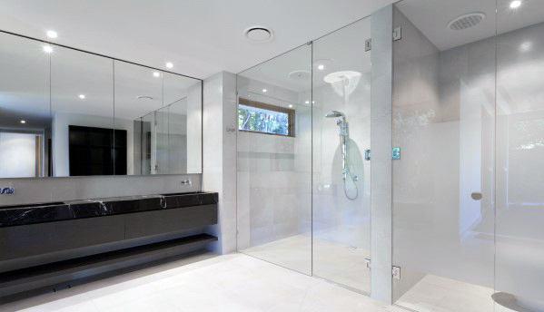 Modern White Large Format Tile Shower Flooring Ideas