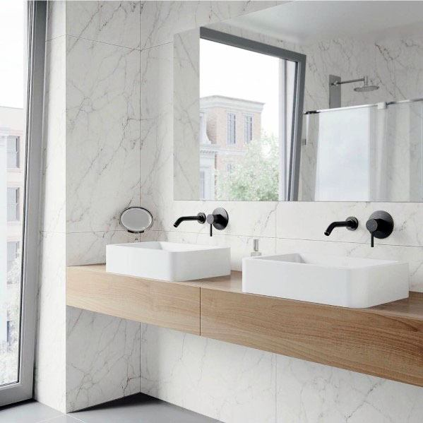 Modern White Marble Master Bathroom Backsplash Tile Design Ideas