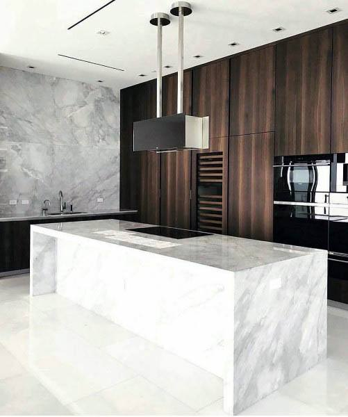 Modern White Marble Slab Kitchen Island With Wood Cabinets