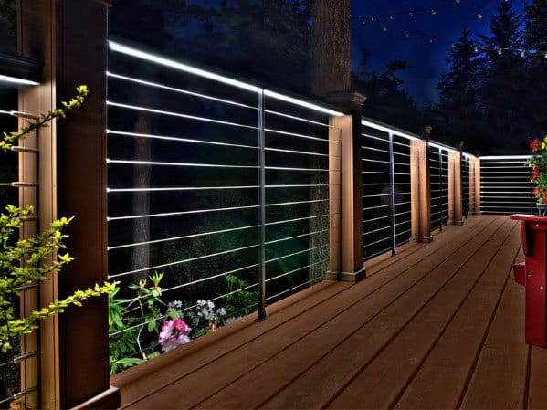 Modern White Railing Led Exceptional Deck Lighting Ideas