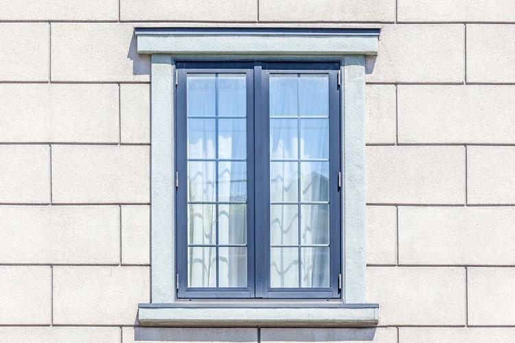Modern Window Frame On White Brick