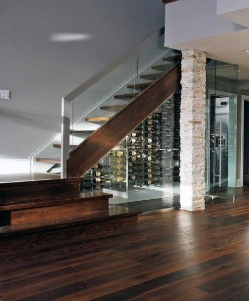 Modern Wine Cellar Design Under Staircase