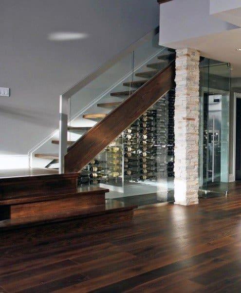 Modern Wine Cellar Design Under Staircase