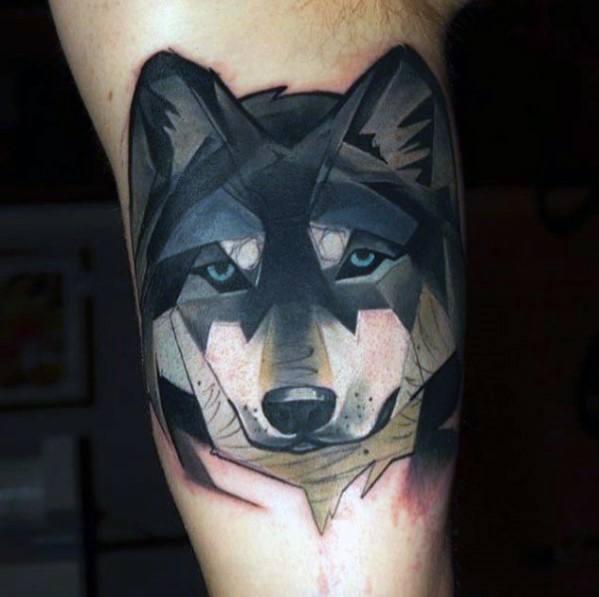 Modern Wolf Watercolor Mens Tattoo Ideas