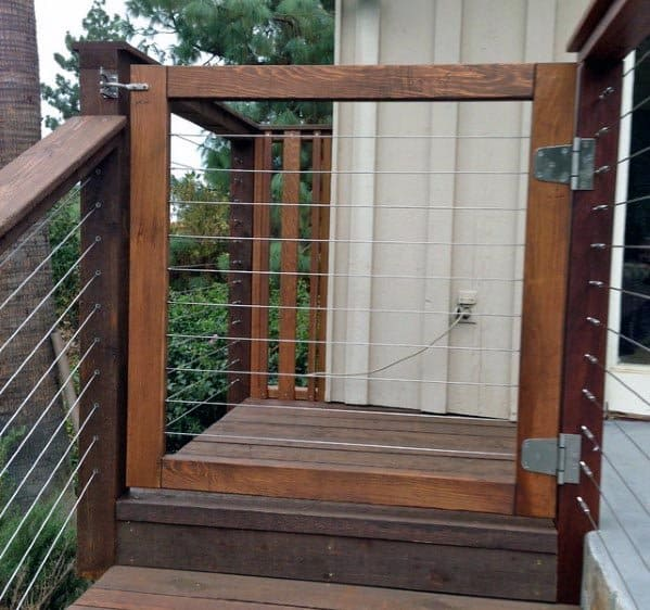 Modern Wood And Steel Wire Deck Gate Backyard Design