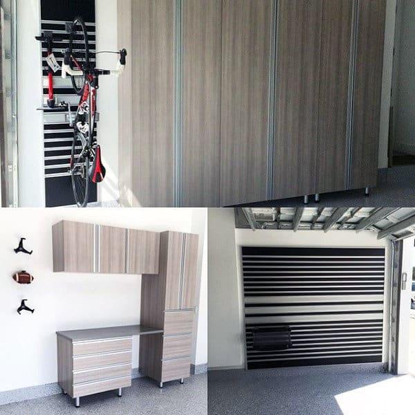 Modern Wood Cabinets For Garage Storage With Wall Bike Rack