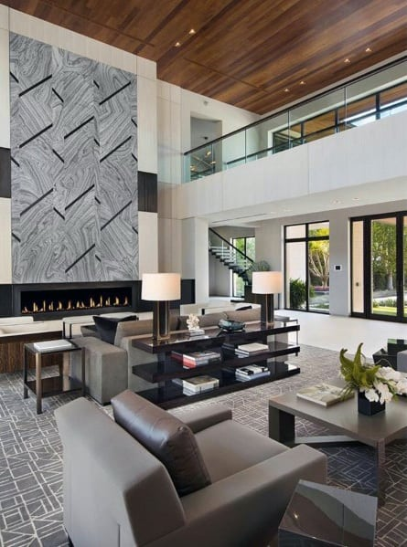 Modern Wood Ceiling Living Room Design Ideas