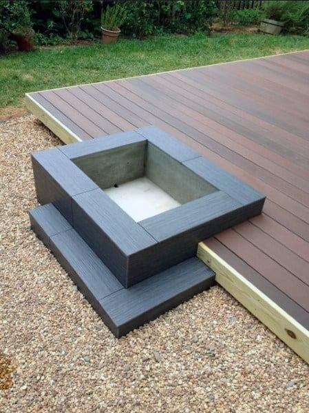 Modern Wood Deck Fire Pit Design Idea Inspiration