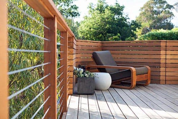 Modern Wood Deck Railing Exterior Ideas With Stainless Steel Wire