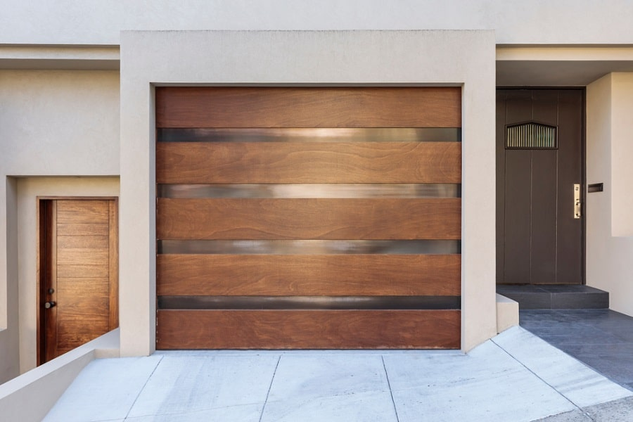 Modern Home Exterior Designs Garage Door Flush Hardwood Look