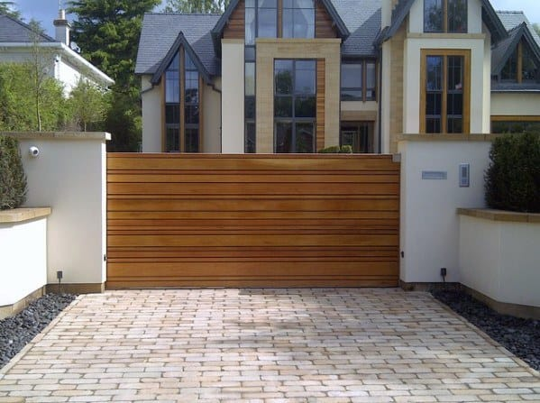 Modern Wood Plank Boards Driveway Gate Ideas