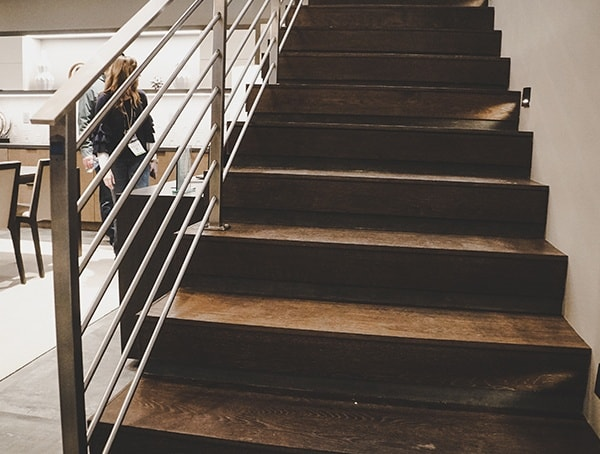 Modern Wood Staircase 2019 New American Remodel. With Stainless Steel Railing