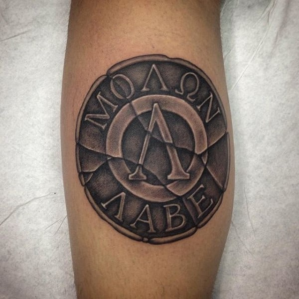 Molon Labe Stone Leg Calf Guys Tattoo Ideas