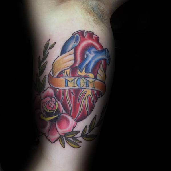 Mom Anatomical Heart Guys Memorial Tribute Traditional Inner Arm Tattoos