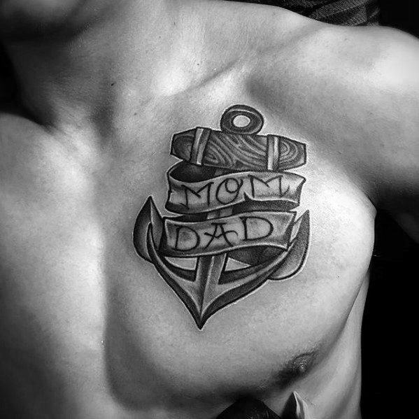 Mom And Dad Banner Mens Unique Anchor Upper Chest Tatoto