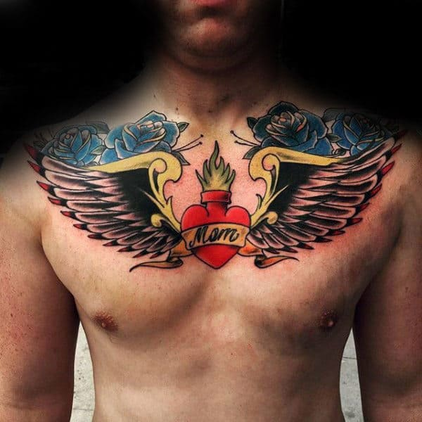 Mom Heart With Wings And Blue Roses Guys Memorial Chest Tattoos